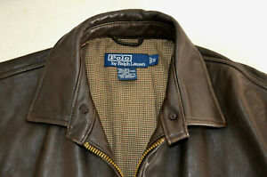 Vintage Polo Ralph Lauren Brown Leather Harrington Jacket Dead Stock New Men S/M