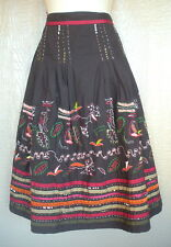 Mix Nouveau 6 Brown Red Olive Festive Sequin Lined Embroidered Midi Skirt