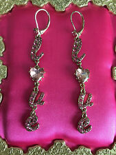 Betsey Johnson Pinkalicious Pink Crystal Paved LOVE Heart Letter Earrings RARE