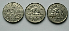 Lot of 3 - 1934 1939 1941 CANADA George V/VI Nickel Coins - 5 Cents - circulated