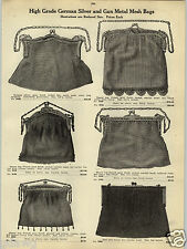 1914 Paper Ad 4 Pg German Silver Mesh Bag Purse Opera Draw String Coin Holder
