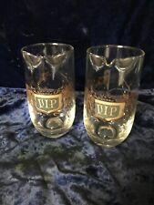2 Vintage VIP Roly Poly Clear Mixing Glass Black & Gold 20oz