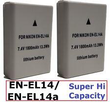 Hi Capacity 2-Pcs EN-EL14a Battery For Nikon D3400 D5600