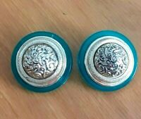 VINTAGE Huge Ornate Plastic Green & Gold Tone Clip On Earrings Statement Kirsch