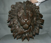 "bronze 18 ""vieux chinois feng shui lion roi tête masque murale animal bête"