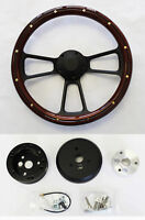 "1968 1969 RR Barracuda Cuda Fury Mahogany Wood and Billet Steering Wheel 14"""