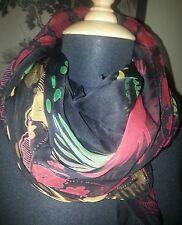 Écharpe en Soie 106x95 cm de 100% soie, noir Grundig, multicolores