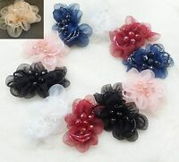 2 Pcs Black White Red Blue Organza Flower Beads Wedding Bridal Shoe Clips
