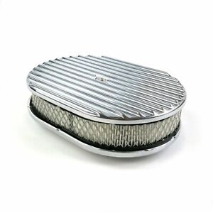 "12"" Oval Finned Polished Aluminum Classic Nostalgia Air Cleaner Chevy GM"