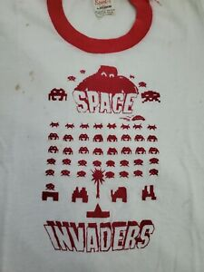 Space Invaders Vintage Child Medium 10-12 Shirt 80's ATARI Video Game NOT MINT