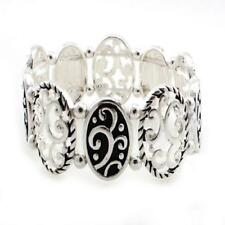 FILIGREE Silver Tone Textured Ovals Filigree Black Swirled Stretch Bracelet