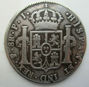 1804 Bolivia PTS PJ Spanish Colony 8 Reales (Piece of eight) Silver Coin