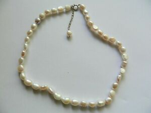 Necklace, Stunning Necklace Of Freshwater Baroque Pearls , Sterling 925 Clasp