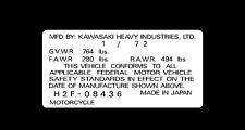 KAWASAKI H2F 750  1972  HEADTUBE TAG  / REPRO DECAL