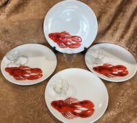 """8 PCS. S/4 Raised Relief Lobster 10 1/4"""" Dinner Plates w/ Butter Cups ~Italy"""