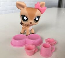 Littlest Pet Shop Tan Spotted DEER Green Flower Eyes #634  LPS Pink  Accessories