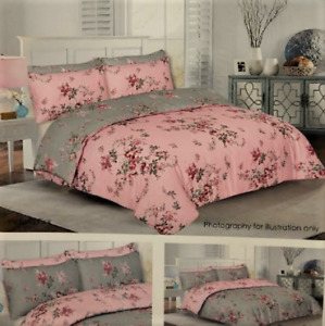 PINK GREY VICTORIA FLORAL REVERSIBLE DUVET COVER SET IN DOUBLE OR KING SIZE