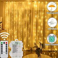 LED Curtain Lights, 8 Modes Battery Operated Window Fairy Lights with Remote