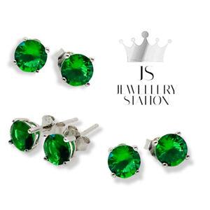 White gold finish Emerald round cut 4mm stud earrings womens jewellery