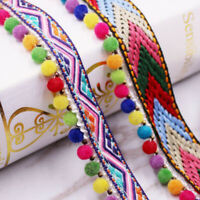 1yd Beaded Pom Pom Trim Tassel Braid Fringe Ribbon - DIY Projects Crafts