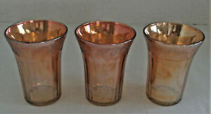 Vintage Carnival Glass Tumblers, Marigold Orange, Harvest Pumpkin Gourd Fruit 3
