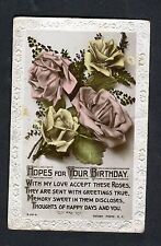 Posted 1923 to Rochester: Birthday Card: Pink & Yellow Roses