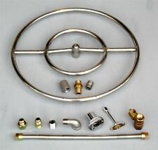 """18"""" Stainless Steel FIRE PIT DOUBLE RING  GAS BURNER KIT PROPANE Fireglass ,lava"""