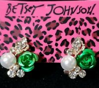 Green Enamel Cute Flower Pearl Crystal Betsey Johnson Women Stand Earrings