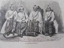 Gravure 1872 - Les Ambassadeurs Birmans