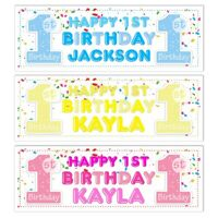 6ft LARGE PERSONALISED BABY BOYS GIRLS 1ST BIRTHDAY PARTY NAME BANNERS ANY AGE