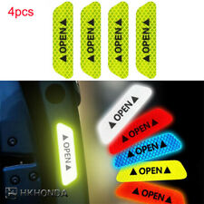 4pcs Safety Reflective Tape Open Sign Warning Mark Car Door Stickers Green