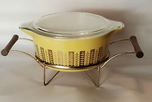 HTF Rare Pyrex Glass Golden Gourmet Gold on Yellow 475 Casserole + Cradle & LId