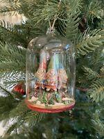 Pottery Barn Gnome Cloche Ornament Christmas Tree Decor New