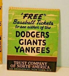 1957 Brooklyn New York Yankees & Giants Schedule Matchbook Trust Co. of N. Amer