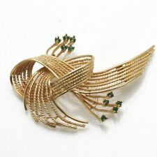 Estate 14k yellow gold Green Emerald Ribbon Brooch Pin Vintage 1960's