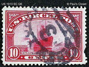 US 1913 Q6 STEAMSHIP MAIL TENDER 10¢ CARMINE PARCEL POST UNG P12 FINE