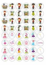 48 Pirate & Princess Wafer / Rice Paper Mini Cupcake Topper Fairy Cake Toppers