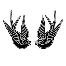 Black Tattoo Sparrow Swallow Biker Punk Iron On Badge Applique Patch