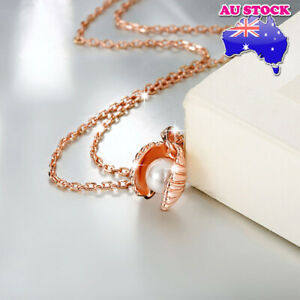 Classic Wholesale 18K Rose Gold Filled Fashion Shell Pearl Necklace Pendant