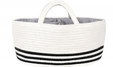 Mila Millie Cotton Rope Baby Diaper Large Caddy Basket Organizer Black Stripes
