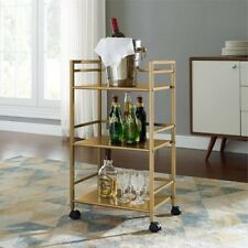 Rolling Serving Cart Gold Metal Kitchen Dining Mini Bar Glam Utility  Storage New