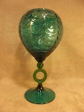 "Empoli Glass Mid Century 12"" Draped Vase ~ Blue Green with Green Ring ~ Italian"