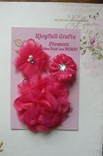 HANDMADE 3 Flower Mix FUCHSIA PINK Organza Lace 50, 65 & 95mm Njoyfull Crafts