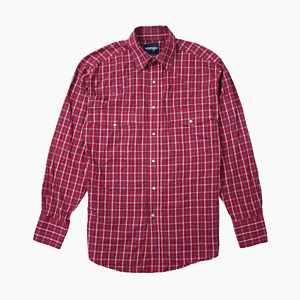 Wrangler Mens Long Sleeve Slim Fit Snap Button Western Check Shirt M Medium Red