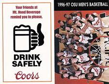 1996-97 OREGON STATE BEAVERS BASKETBALL POCKET SCHEDULE - UNFOLDED