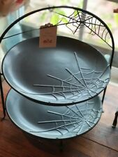 2 Tier Spiderweb Halloween Earthenware Serving Plate Set NWT Pier 1 SOLD OUT