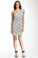 NWT - ABS by Allen Schwartz One Shoulder Rosette Lace Dress Size 6 $525