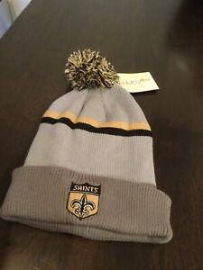 NWT New Orleans Saints Mitchell & Ness Winter Pom Knit Hat Cap New With Tags