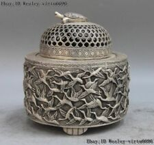 Old White Copper Silver turtle thousand red-crowned crane incense burner censer