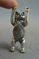 Collectible Handwork Old Miao Silver Carved Fortune Cat Lucky Auspicious Statues